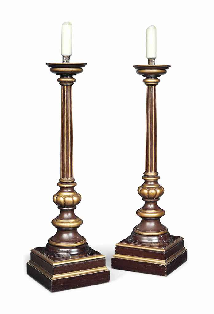 A PAIR OF BROWN AND GOLD PAINT