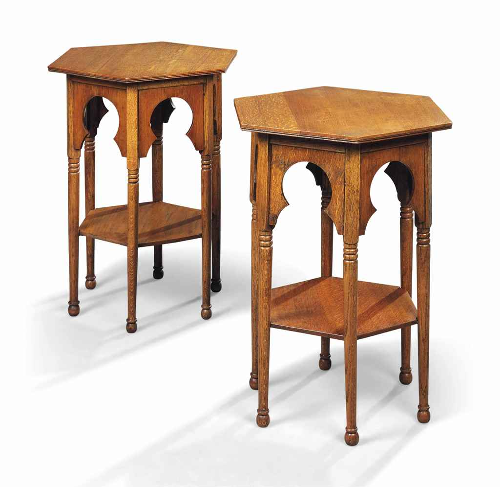A PAIR OF VICTORIAN OAK TWO-TI