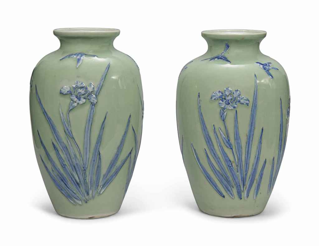 A PAIR OF JAPANESE CELADON AND