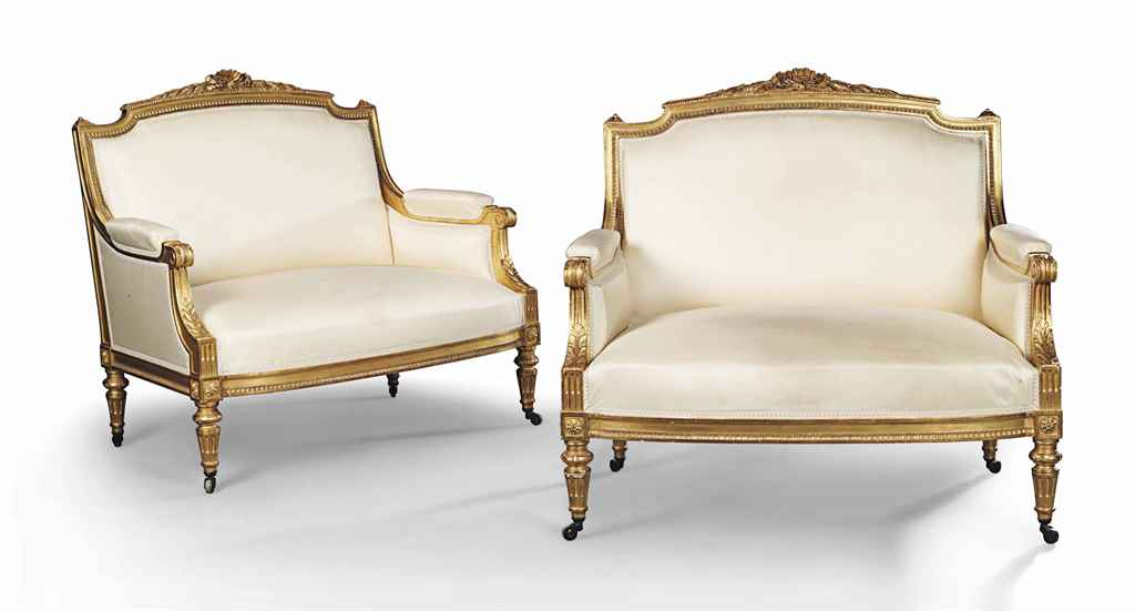 A PAIR OF FRENCH GILTWOOD MARQ