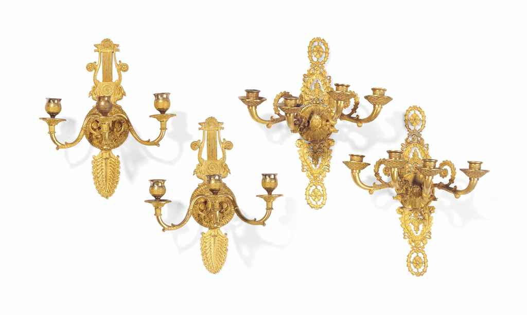 TWO PAIRS OF FRENCH ORMOLU WAL