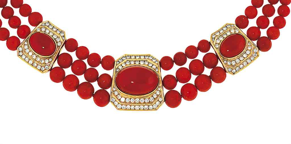 A coral and diamond choker, by Repossi
