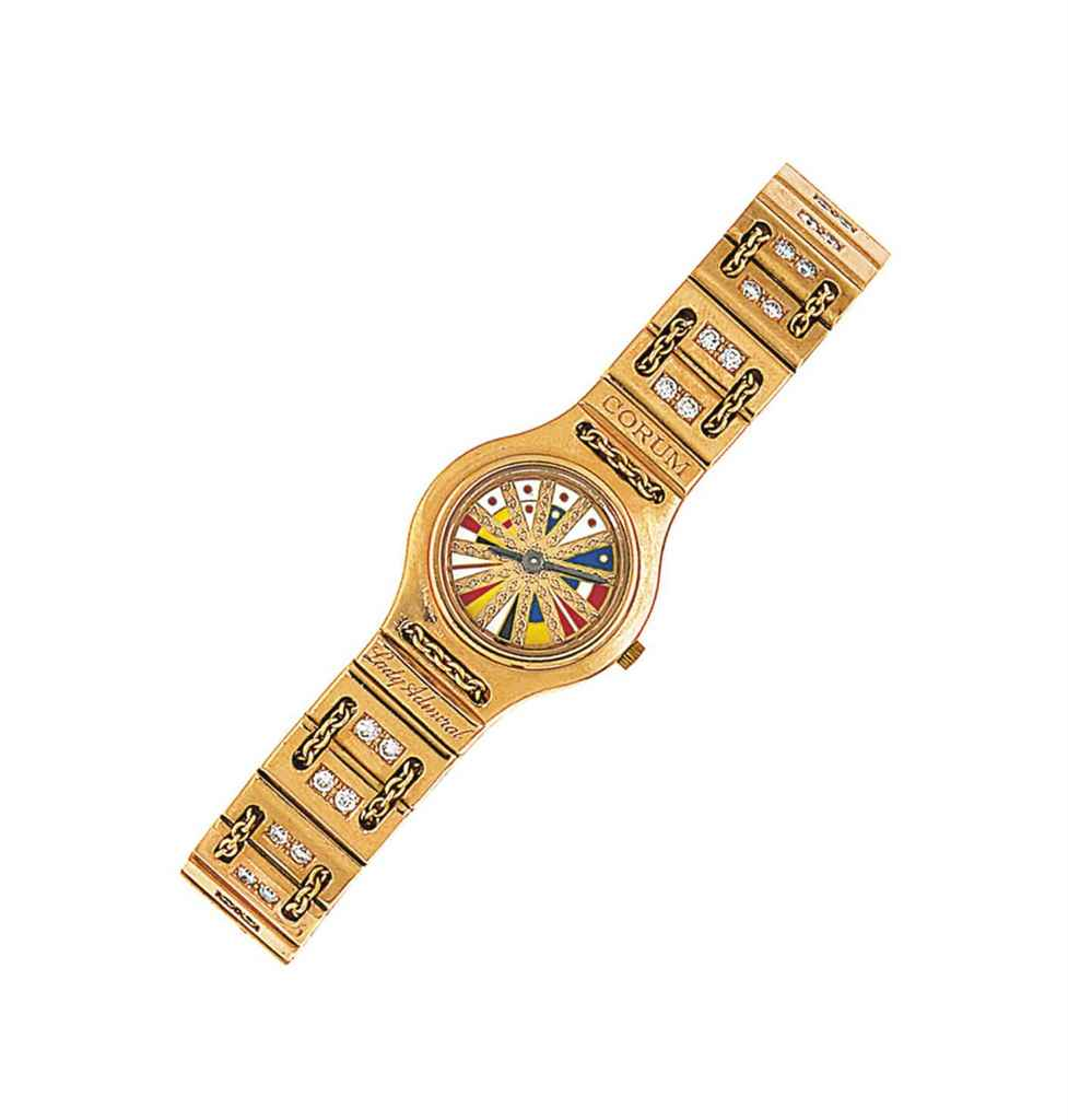 An 18ct pink gold diamond-set 'Lady Admiral' quartz wristwat...
