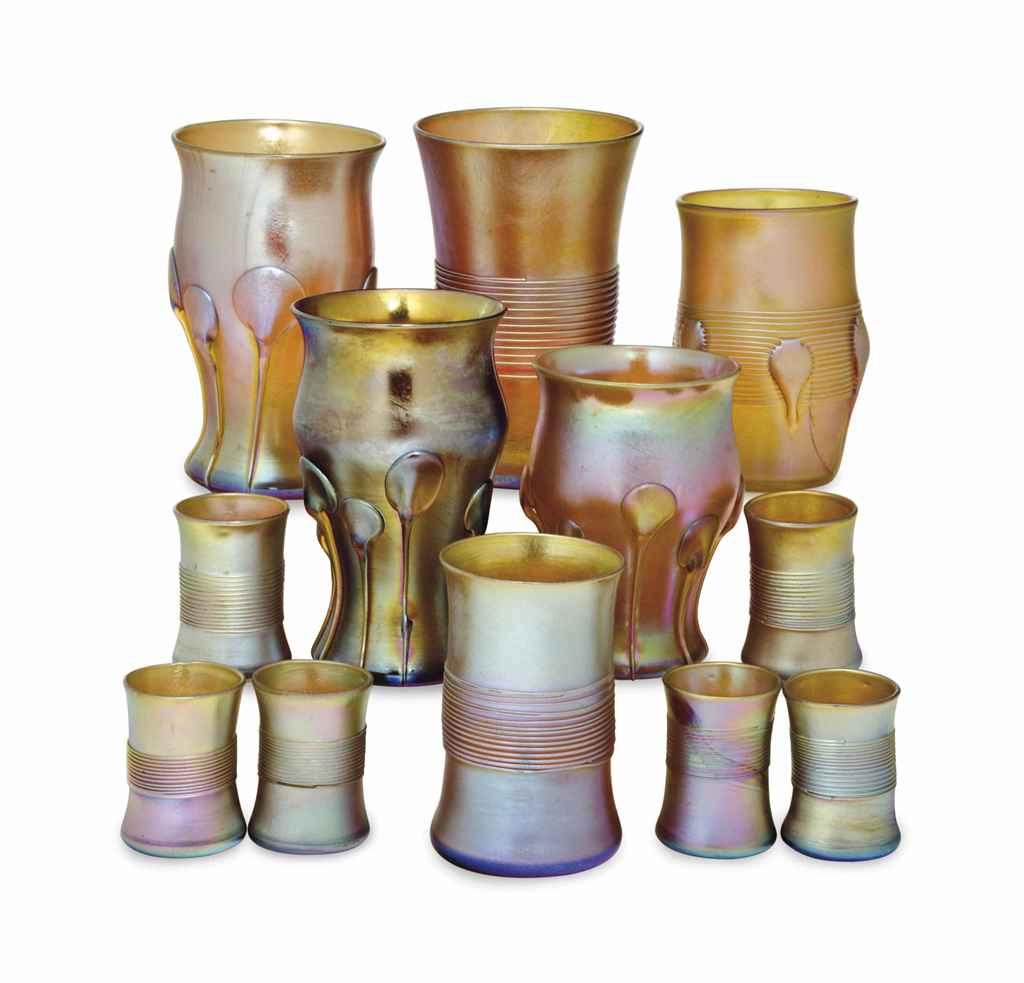 TWELVE AMERICAN FAVRILE GLASS