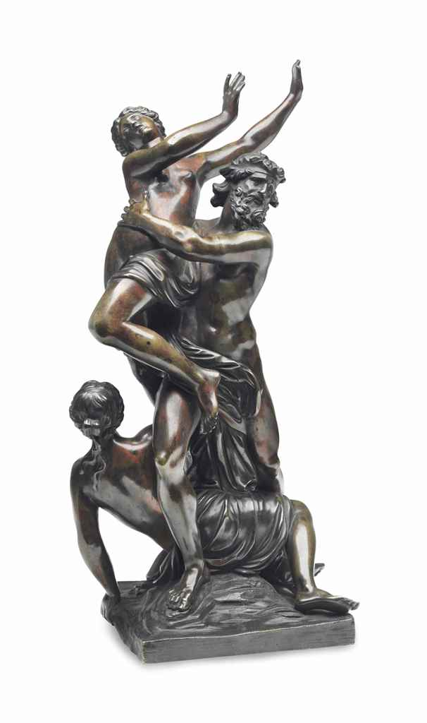 A BRONZE FIGURAL GROUP OF THE