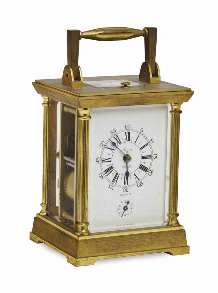 A FRENCH BRASS CARRIAGE CLOCK,