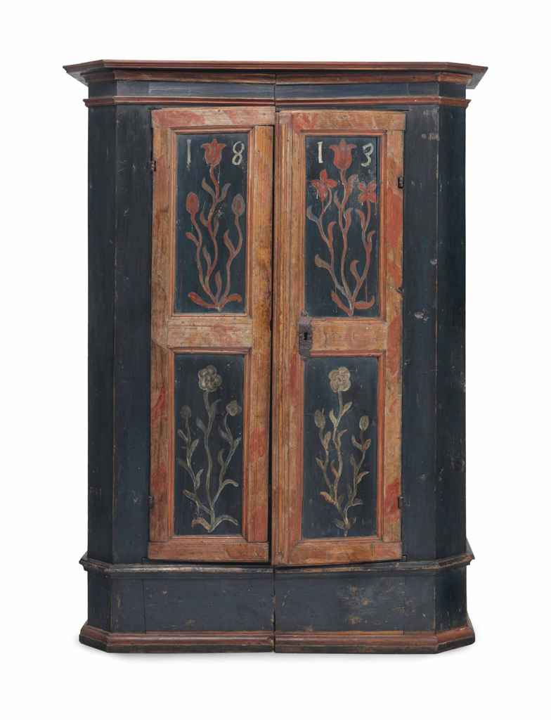 A continental polychrome painted armoire 19th century for Armoire new york city