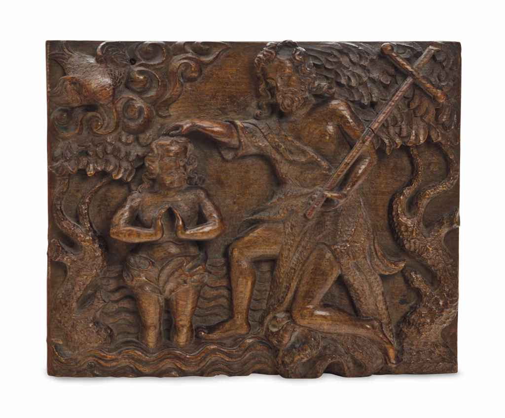 A GERMAN CARVED OAK RELIEF OF