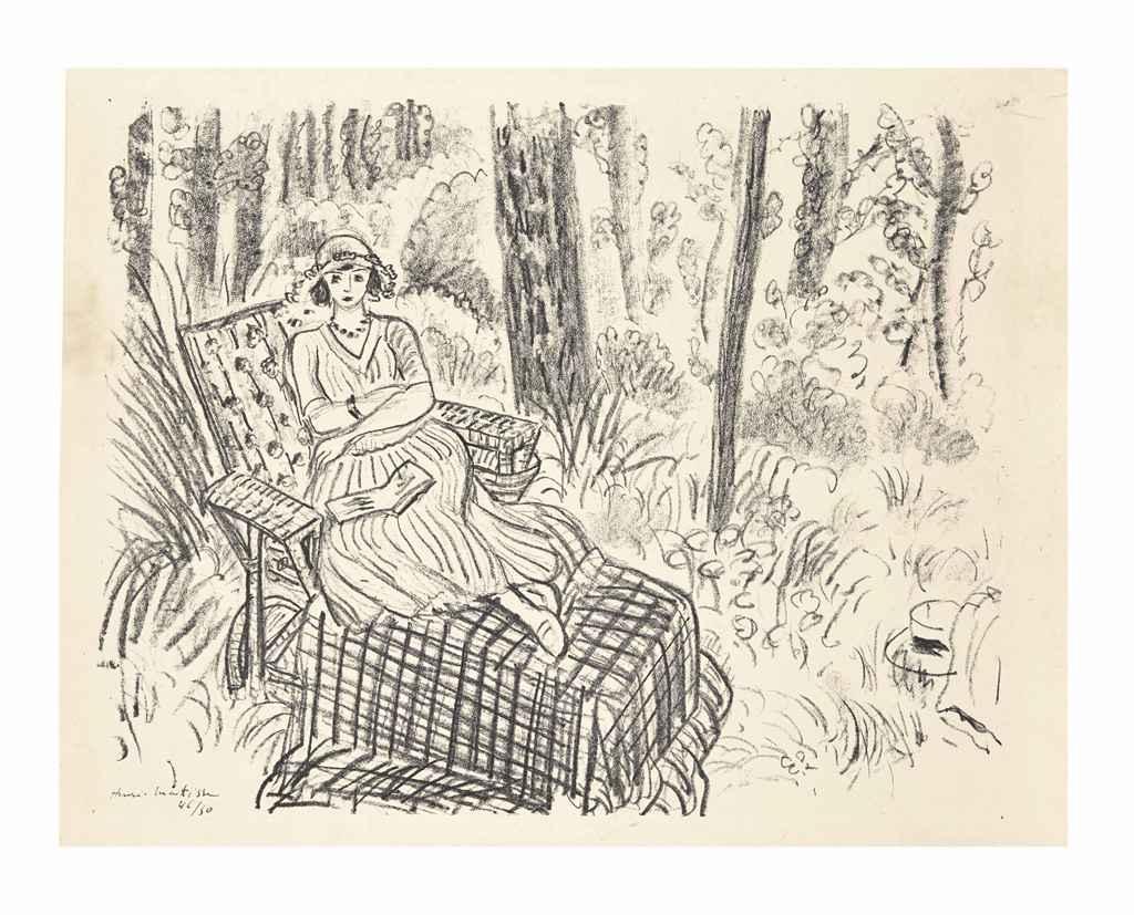 Henri matisse jeune fille la chaise longue dans un for Chaise longue bois