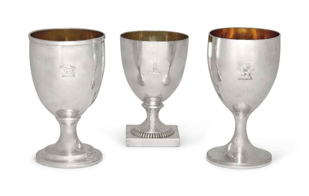 TWO GEORGE III SILVER GOBLETS AND A THIRD GEORGE IV EXAMPLE ...