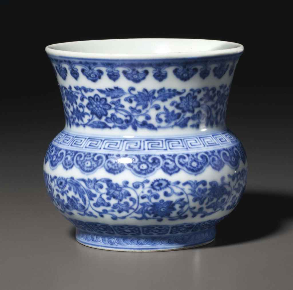A RARE BLUE AND WHITE 'FLOWER SCROLL' ZHADOU