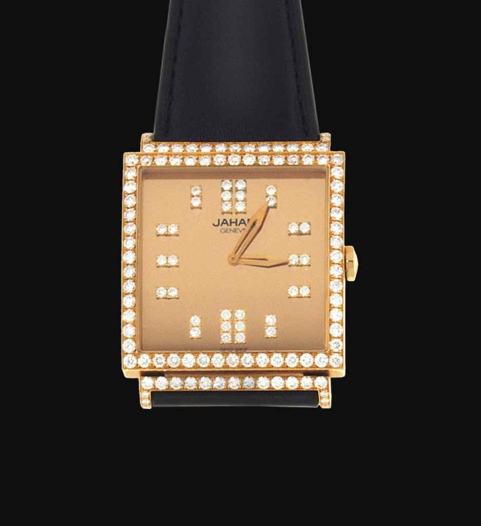 An 18ct pink gold and diamond quartz 'Select Sq' wristwatch,...