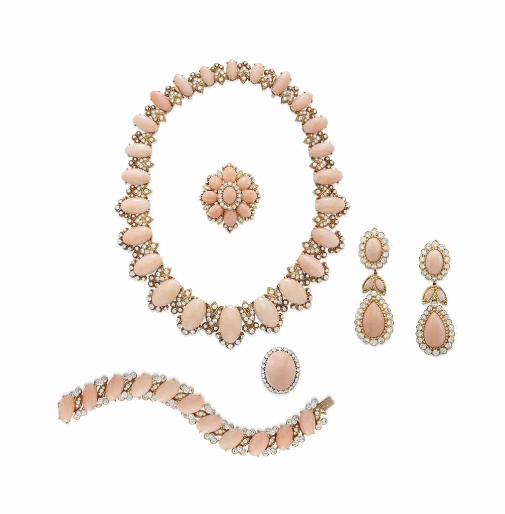 A SUITE OF CORAL AND DIAMOND JEWELRY, BY VAN CLEEF & ARPELS...