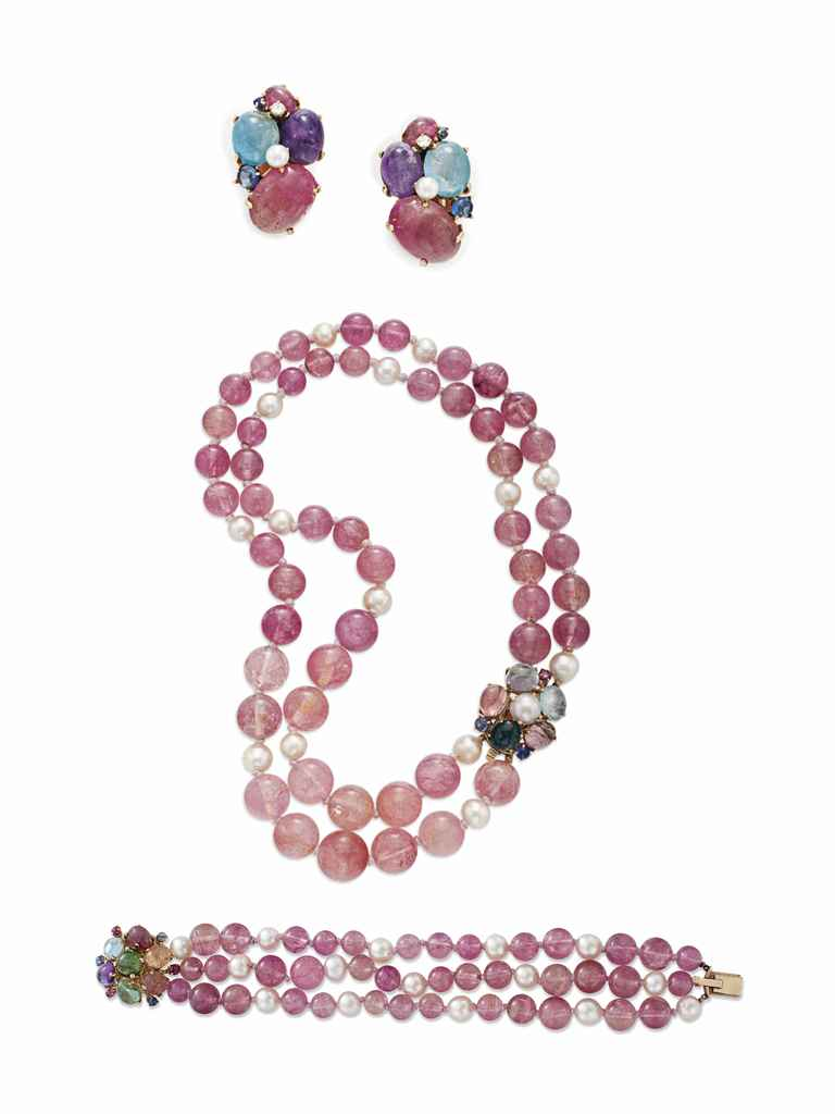 A SUITE OF PINK TOURMALINE AND MULTI-GEM JEWELRY