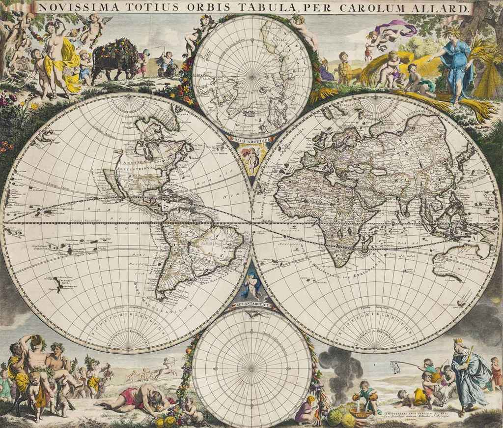 A DUTCH ENGRAVED AND COLOURED TWIN HEMISPHERE MAP OF THE WOR...