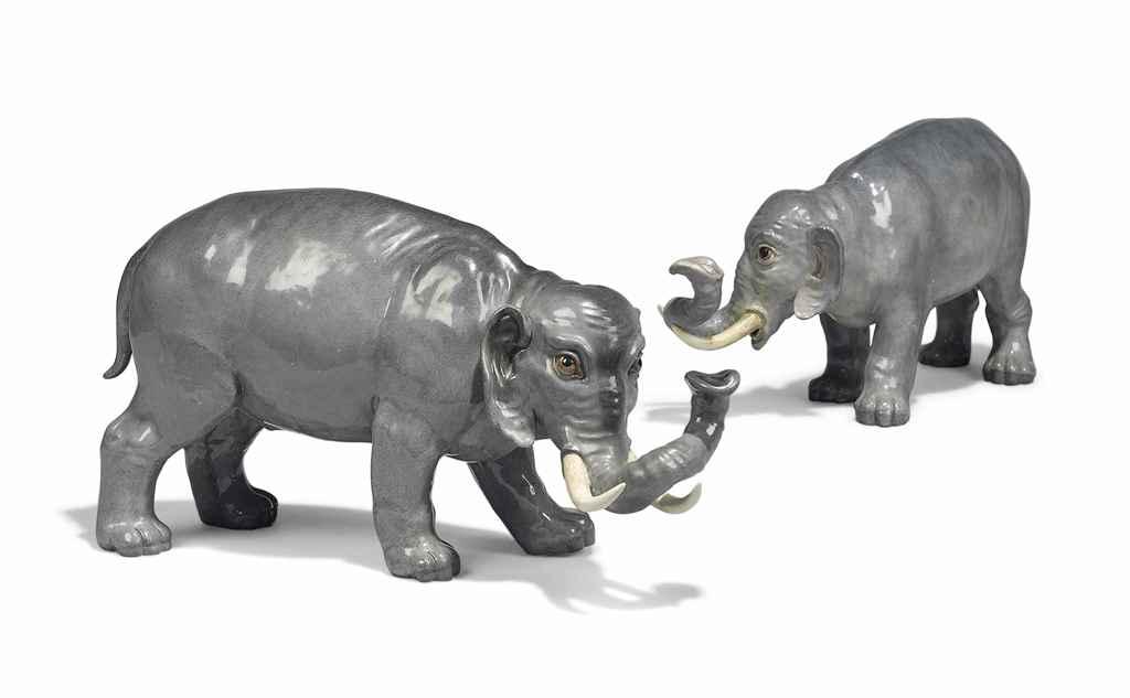 TWO MEISSEN MODELS OF ELEPHANT