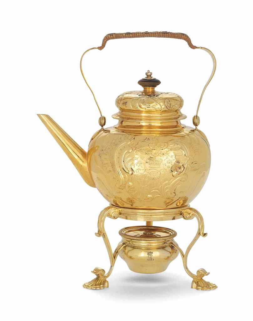A GERMAN SILVER-GILT KETTLE AN