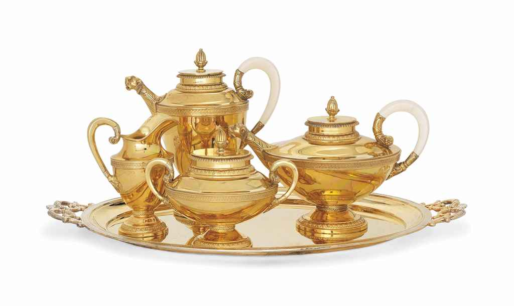 A GERMAN FOUR-PIECE TEA AND CO