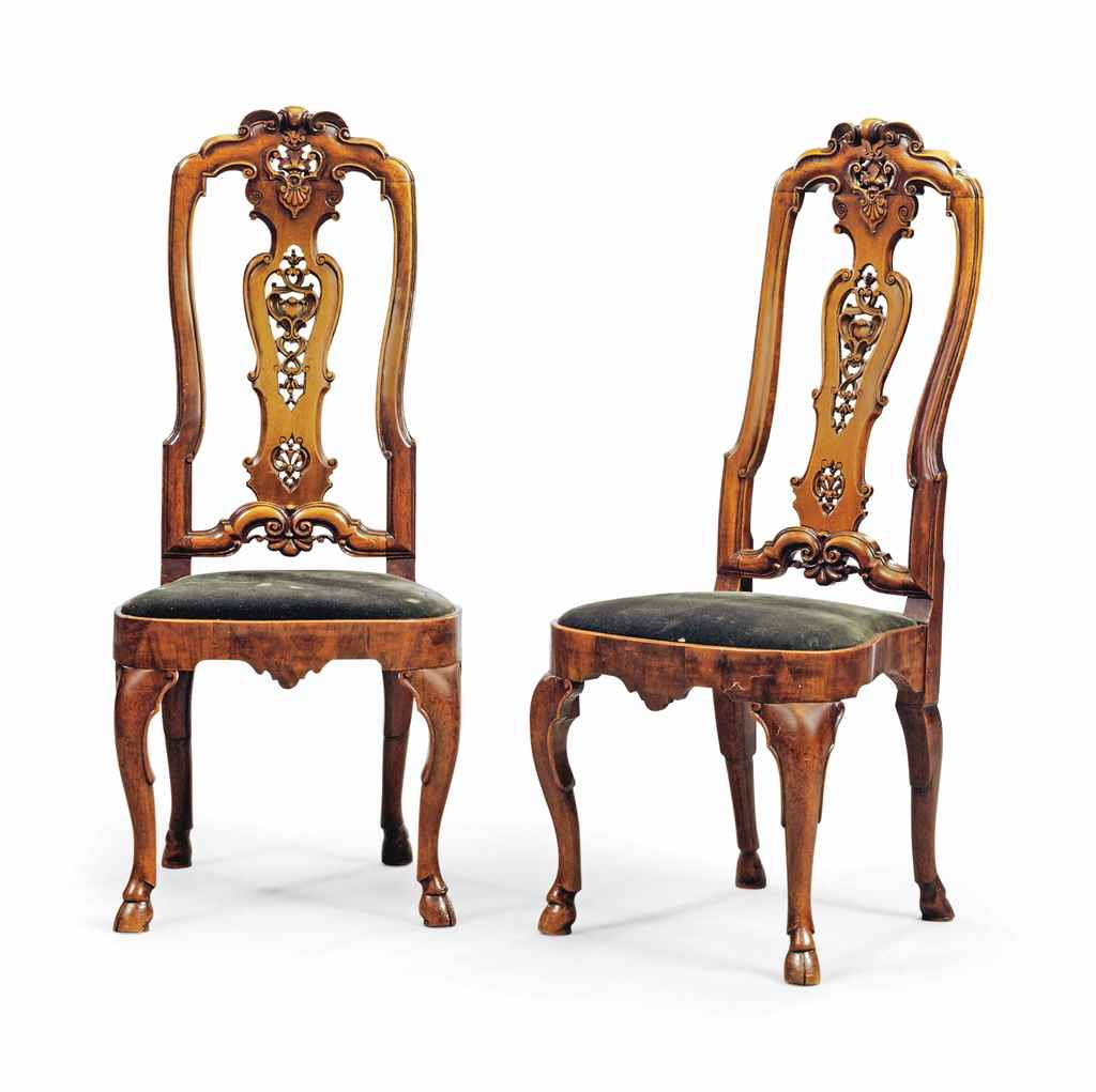 A PAIR OF ANGLO-DUTCH WALNUT A