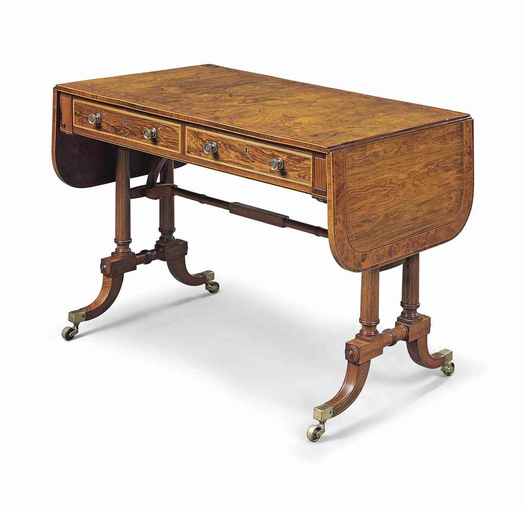 A REGENCY ROSEWOOD AND BURR YE