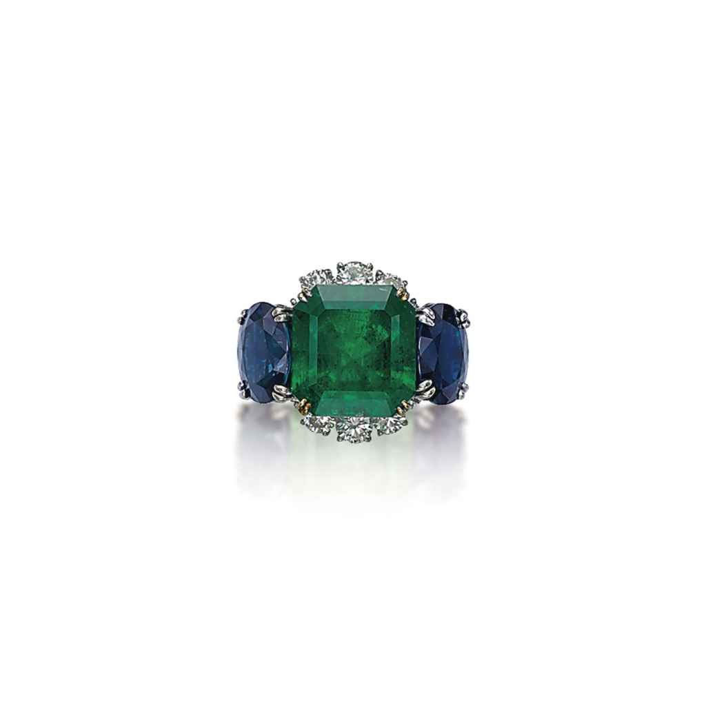 an emerald sapphire and ring by jahan christie s