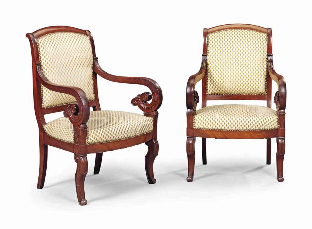 a pair of louis philippe mahogany fauteuils second quarter 19th century christie s