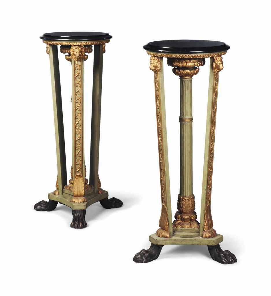A PAIR OF REGENCY STYLE GREEN-