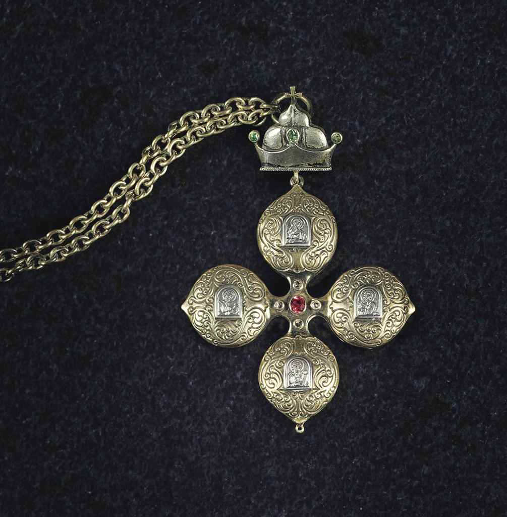 A GEM-SET PARCEL-GILT SILVER P