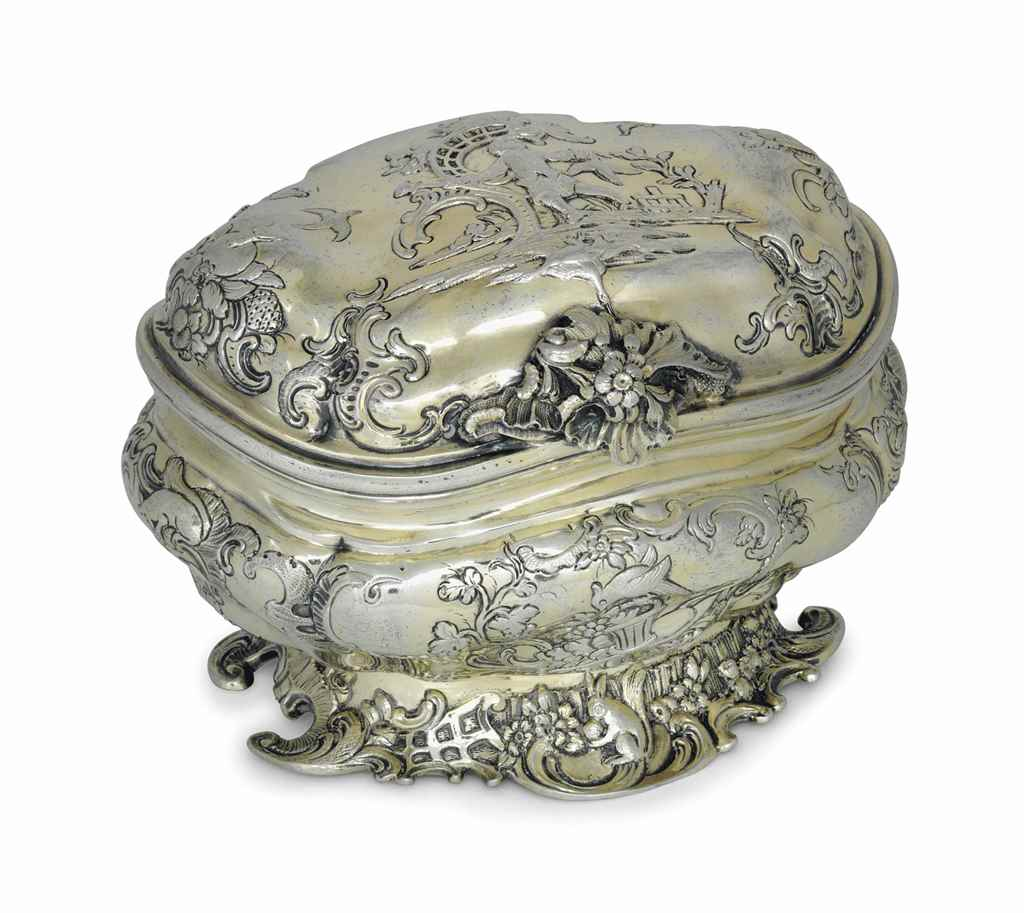 A GERMAN SILVER-GILT SUGAR BOX