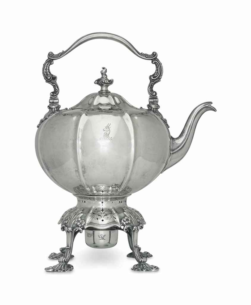 A WILLIAM IV SILVER KETTLE-ON-