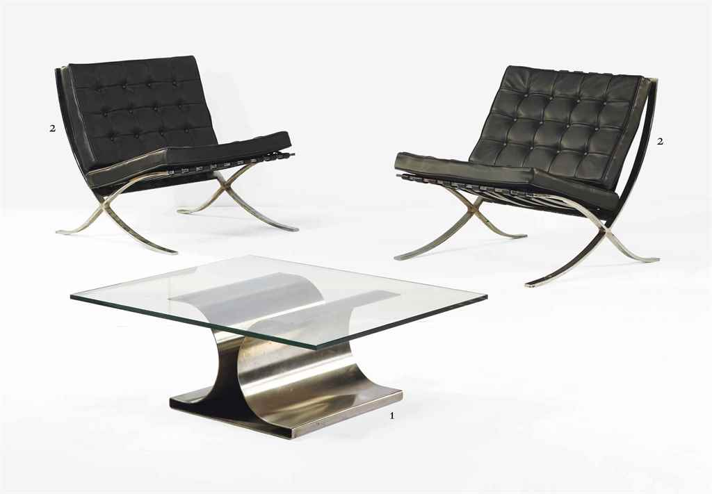 ludwig mies van der rohe 1886 1969 paire de fauteuils 39 barcelona 39 le modele cree en 1929. Black Bedroom Furniture Sets. Home Design Ideas