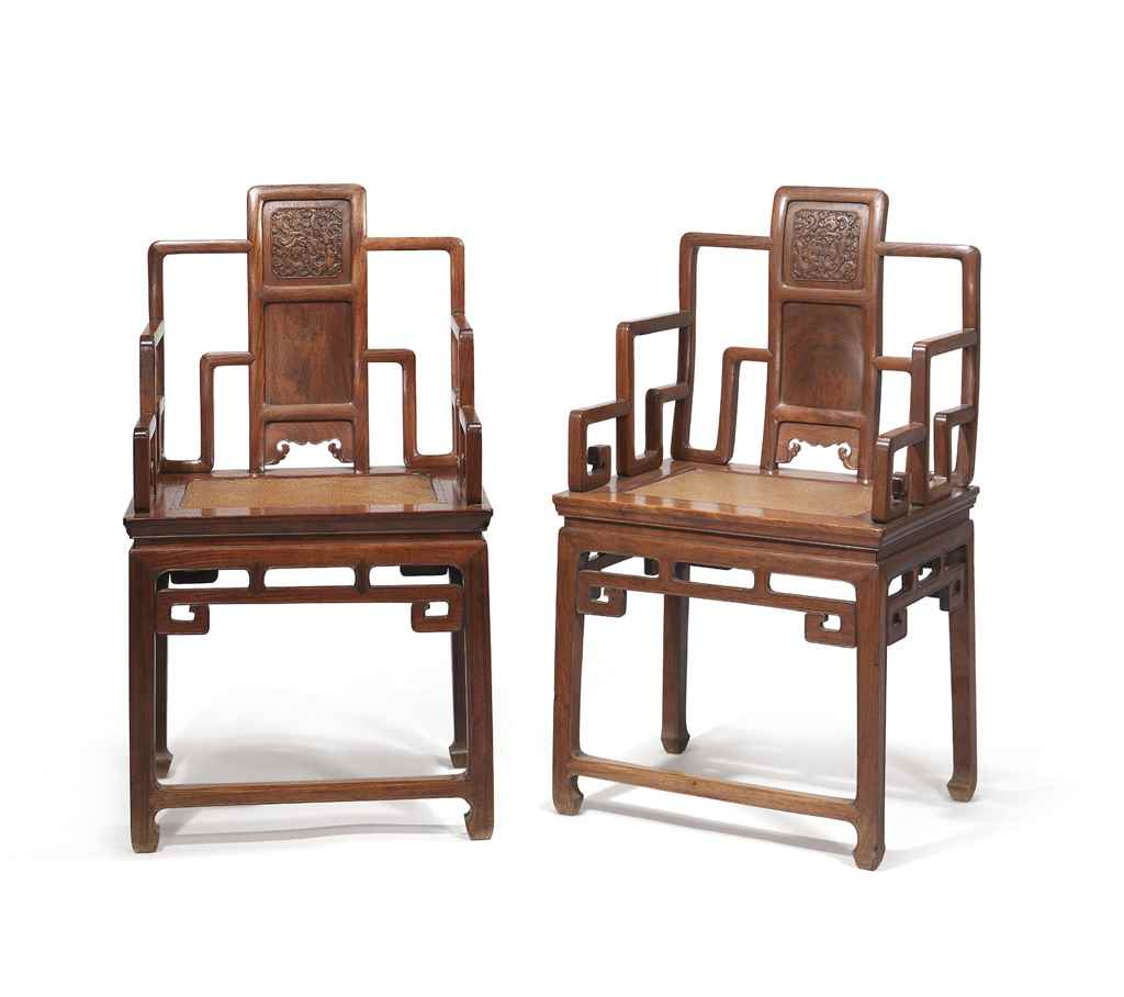 A Pair Of Huanghuali Armchairs Qing Dynasty Late 19th