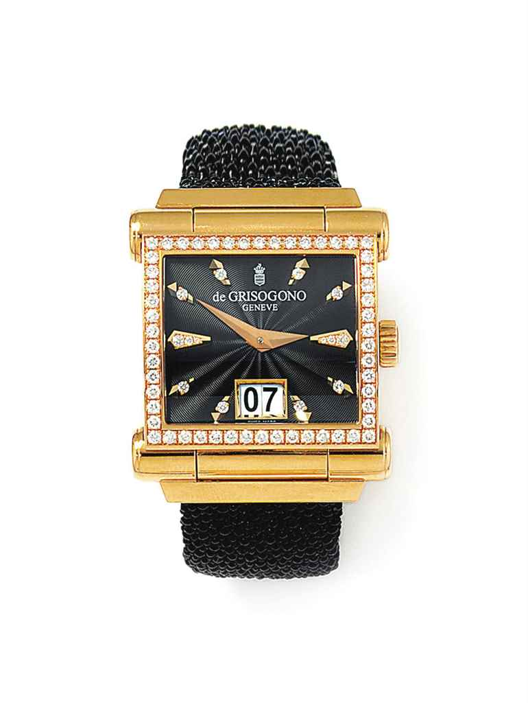 An 18ct pink gold diamond-set 'Instrumento Grande' automatic...