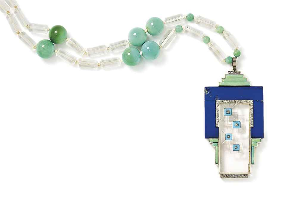An Art Deco lapis lazuli, turquoise and rock crystal sautoir...