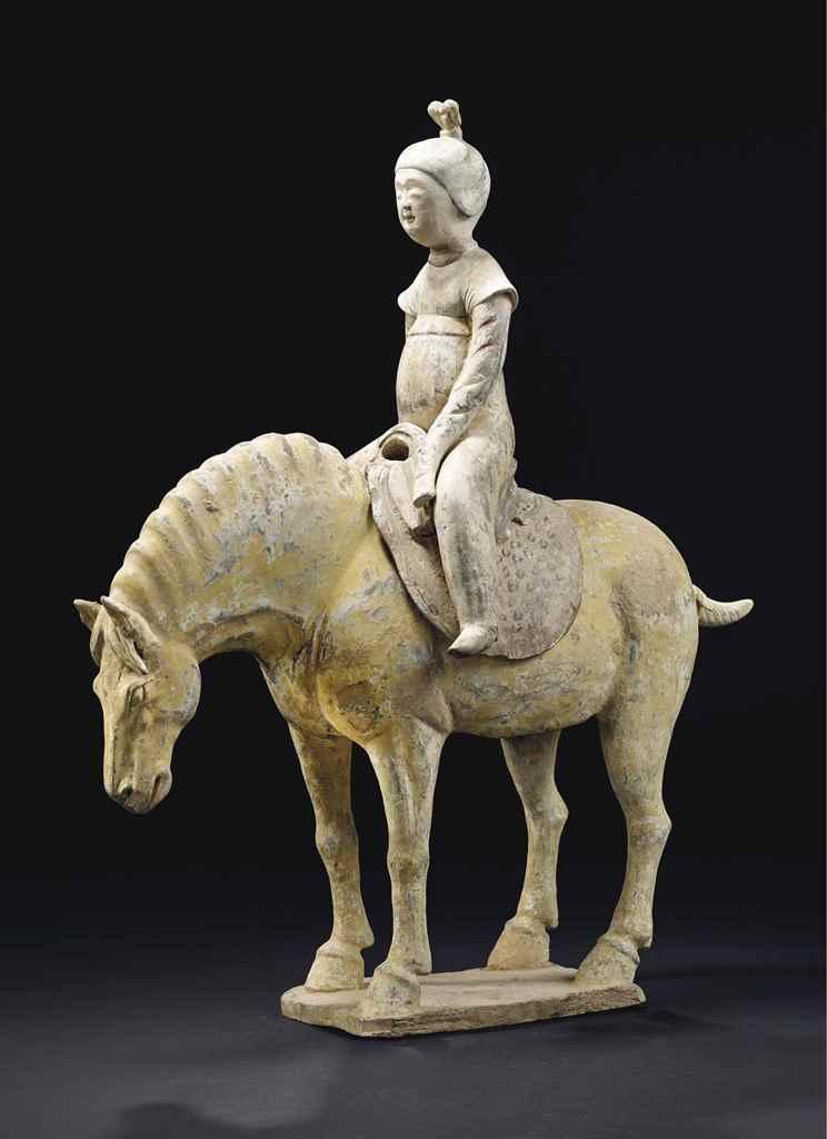Cavaliere en terre cuite polychrome chine dynastie tang circa viieme siec - Daubiere en terre cuite ...