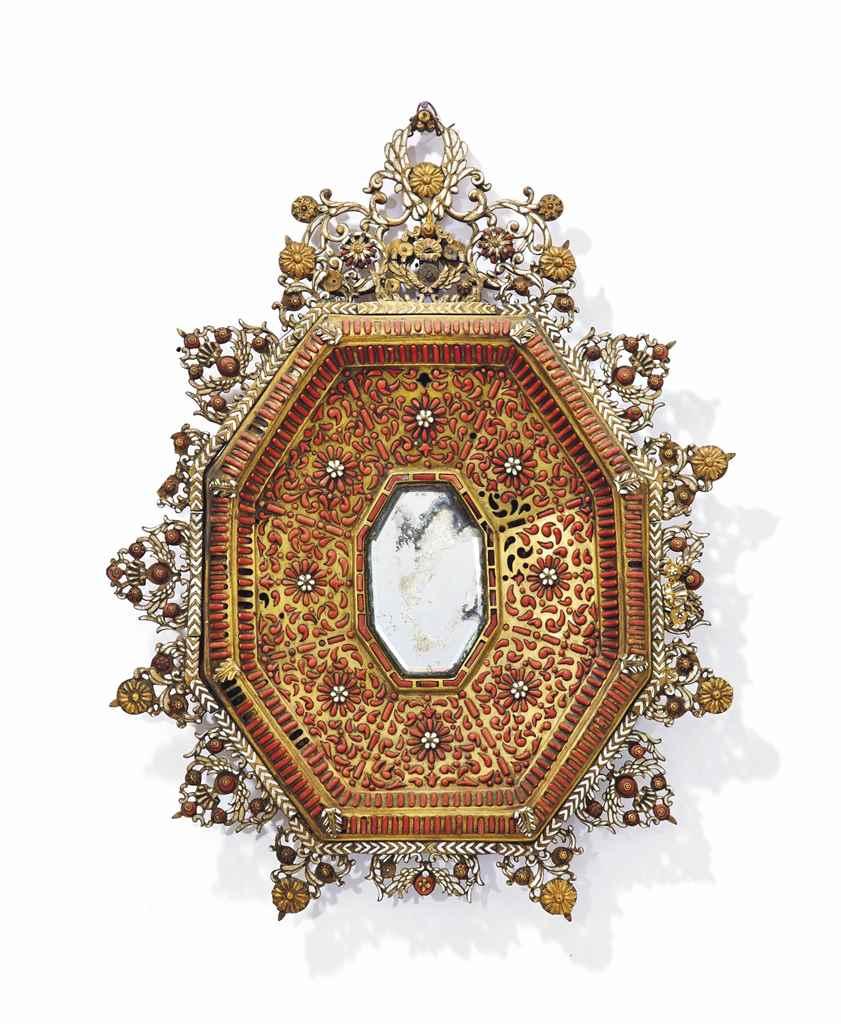 Cadre de miroir en cuivre dore corail et email trapani for Miroir cadre dore