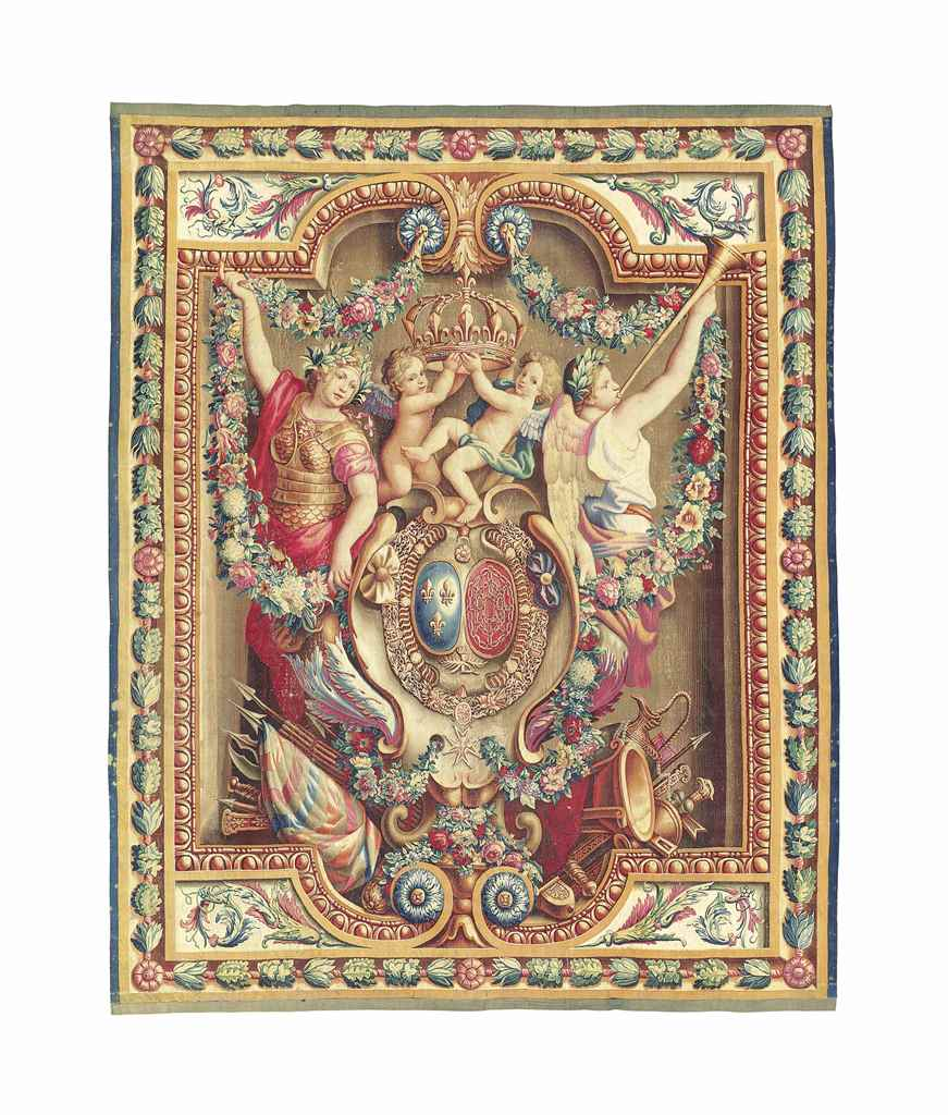 A LOUIS XIV ARMORIAL PORTIERE TAPESTRY