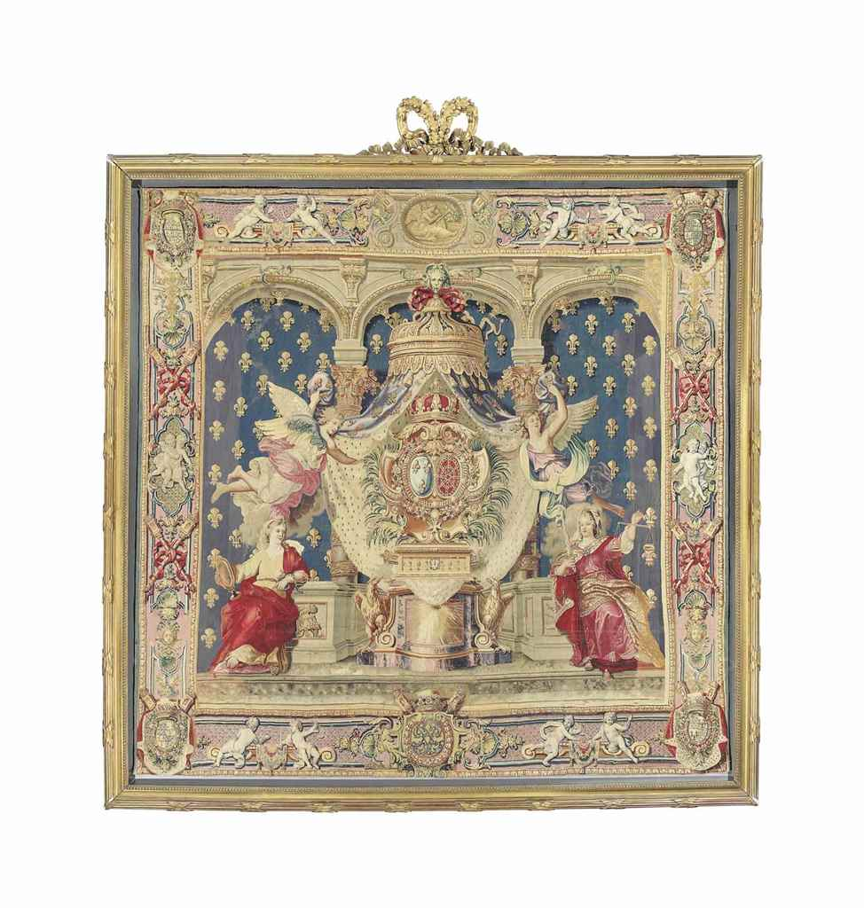 a royal louis xiv chancellerie tapestry by jean le febvre fils a royal louis xiv chancellerie