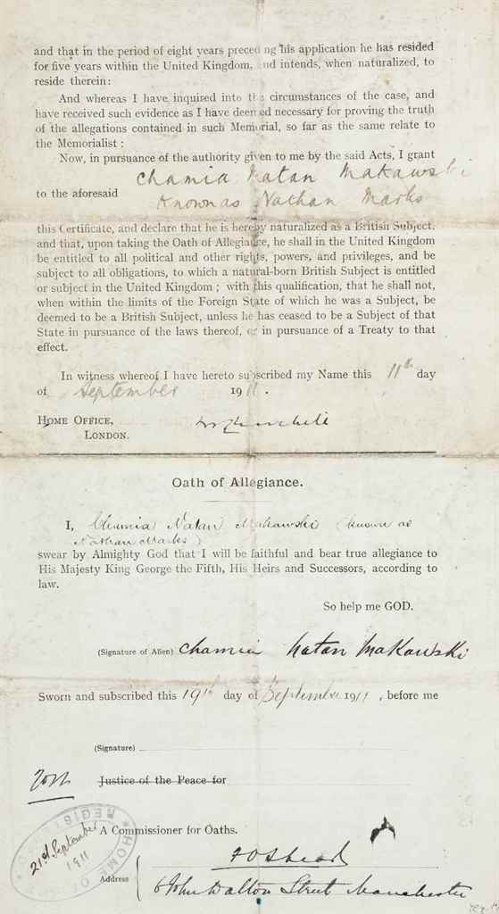 "CHURCHILL, Winston S Partly printed document signed (""WS Chu..."