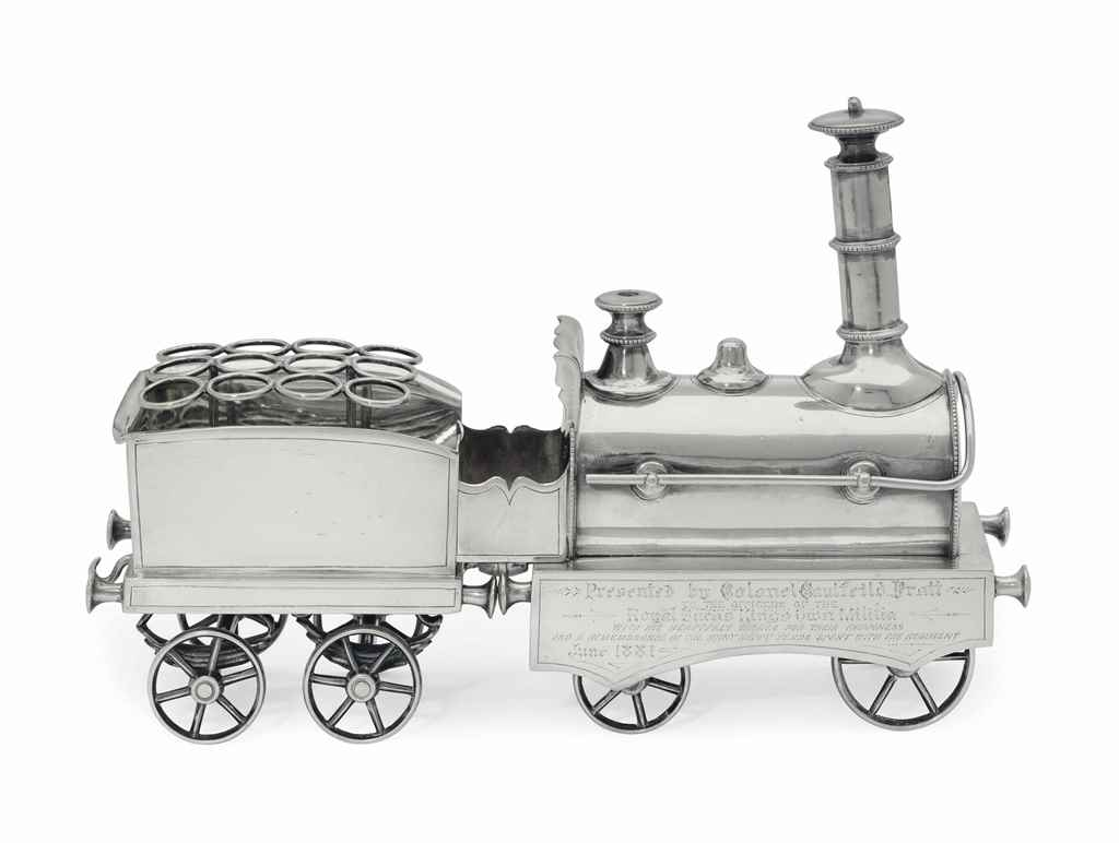 A SILVER PLATE LOCOMOTIVE-FORM