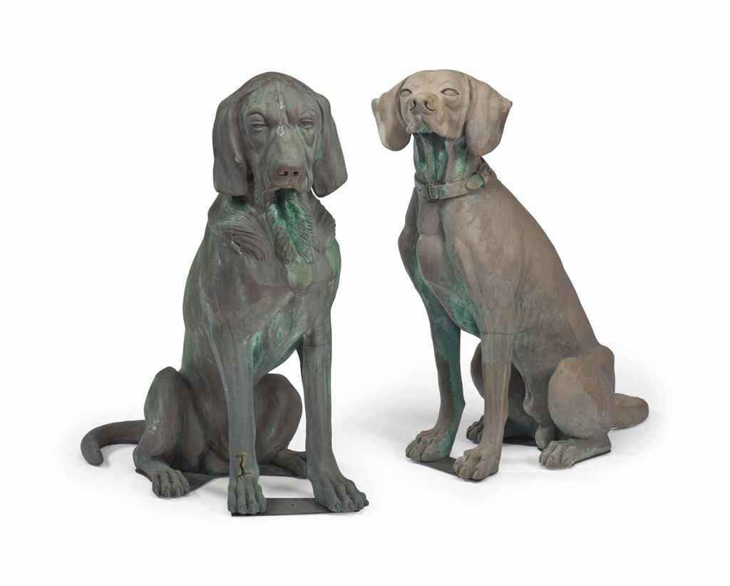A PAIR OF BRONZE-PATINATED FIB