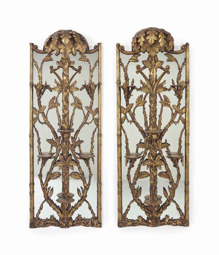 A PAIR OF GILT-PAINTED MIRROR-