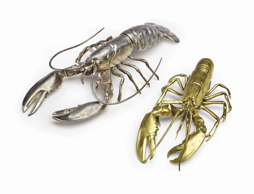 AN ENGLISH SILVER LOBSTER-FORM