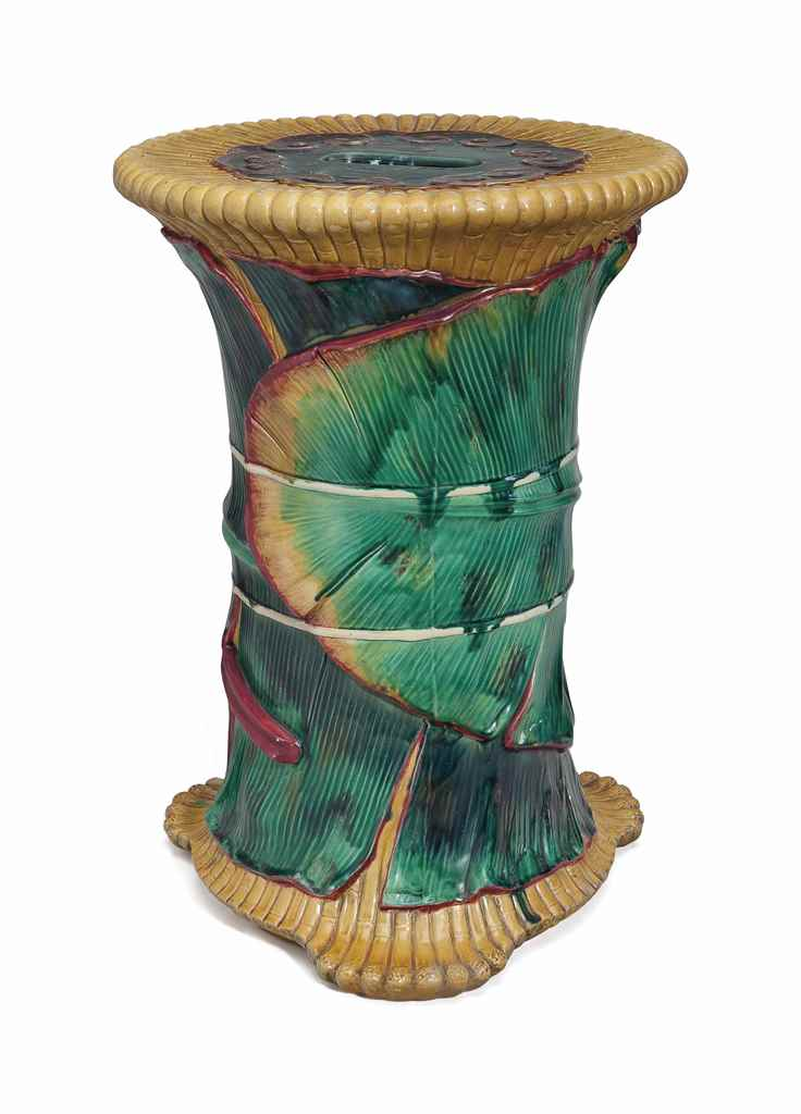 A MINTONS MAJOLICA FAUX BAMBOO