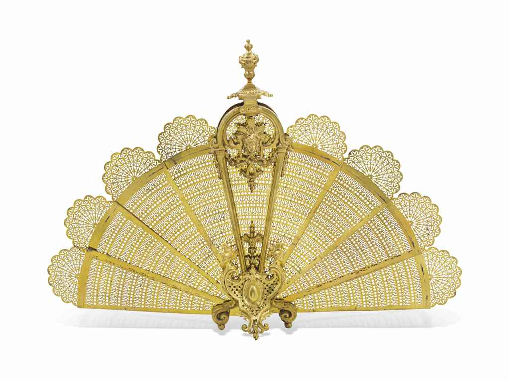 A FRENCH BRASS FAN-SHAPED FOLD