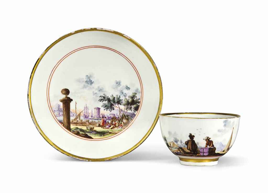 A MEISSEN TEACUP AND SAUCER