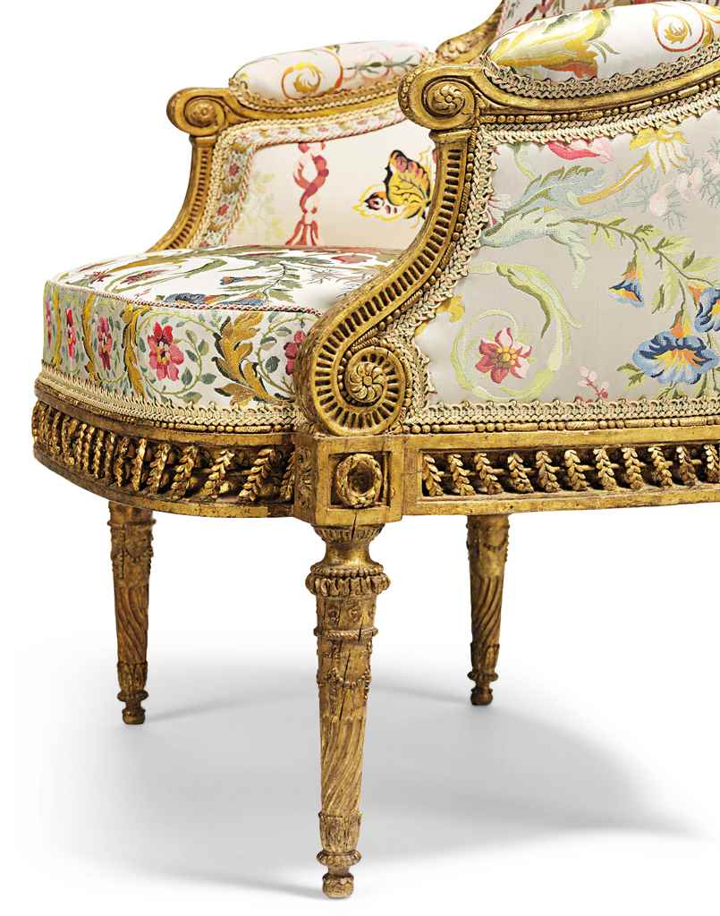 a royal louis xvi giltwood fauteuil en bergere by. Black Bedroom Furniture Sets. Home Design Ideas