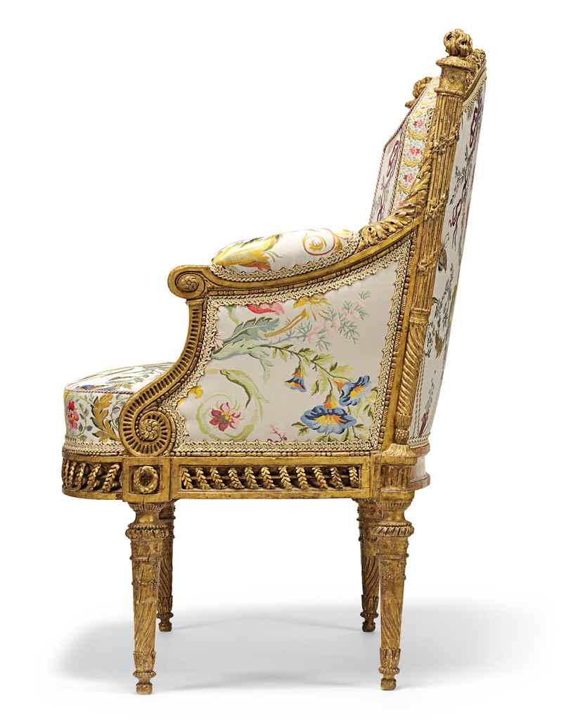 A royal louis xvi giltwood fauteuil en bergere by francois ii foliot 178 - Fauteuil bergere moderne ...