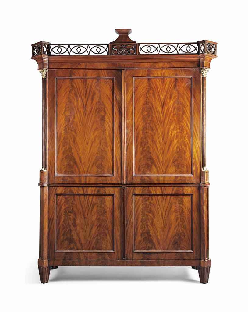 A LARGE DUTCH GILT-BRASS MOUNTED MAHOGANY ARMOIRE