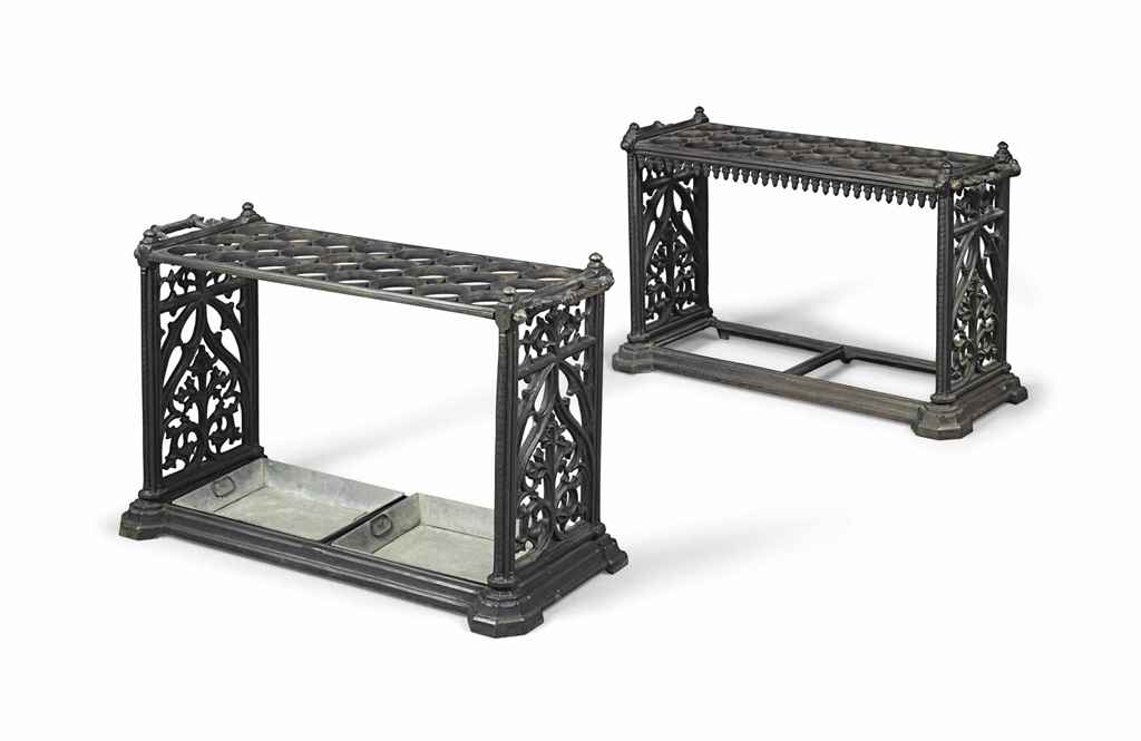 A PAIR OF VICTORIAN CAST-IRON STICK STANDS
